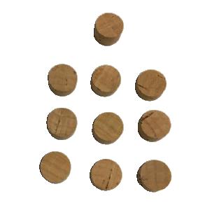 Pad di sughero 100% naturale per tromba e trombone per chiave acqua  (20 pz.) 9,5xh5mm.